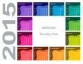 Colorful circular calendar english sunday first Stock Photography