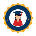 Colorful circular emblem with woman with graduation hat