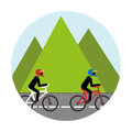 Colorful circular landscape with men ride bike Royalty Free Stock Photo
