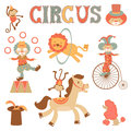 Colorful circus performance a cute related items Stock Photo