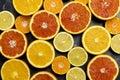 Citrus background at black background