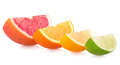 Colorful citrus slices on white Royalty Free Stock Photo