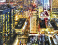 Colorful city nightlife aerial view of a and illuminated buildings of manhattan new york Royalty Free Stock Photos
