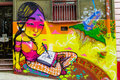 Colorful city Valparaiso graffiti Royalty Free Stock Photo