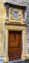 Colorful Classic Patterns on castle wooden door in old town Neuchatel, Switzerland, Europe Royalty Free Stock Photo