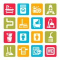 Colorful cleaning icons elegant vector black set Royalty Free Stock Image