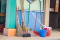 Colorful cleaning utilities and walls Stock Image