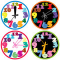 Colorful clocks Stock Image