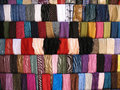 Colorful cloth samples in lebanese souk cloths stall at tripoli's old lebanon Royalty Free Stock Images