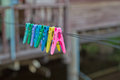 Colorful clothes pin on a clothesline Royalty Free Stock Photos