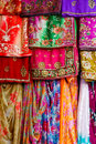 Colorful clothes and saris on display Royalty Free Stock Photo