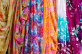Colorful clothes and saris on display Royalty Free Stock Image