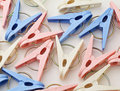 Colorful clothespin over the white background Stock Photography