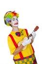 Colorful clown with ukulele Stock Photos