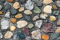 Colorful cobbles a old roadway is constructed of assorted cobblestones Royalty Free Stock Photography