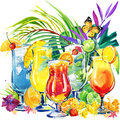 Colorful cocktail. Hand drawn watercolor illustration of cocktail fruit and tropical leaves background