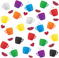 Colorful coffee cup pattern vector Stock Image