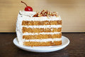 Colorful coffee layer cake Royalty Free Stock Photo
