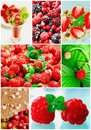 Colorful collage healthy fruit Stock Images