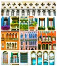 Colorful collage made of windows from Venice, Italy Royalty Free Stock Photo
