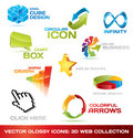 Colorful collection of 3d web icons Royalty Free Stock Images