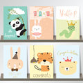 Colorful collection for banners,Flyers,Placards with panda,rabbi Royalty Free Stock Photo