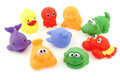 Colorful collection of bathing toys