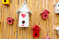 Colorful collection of birdhouses Stock Photography