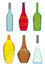 Colorful collection of bottles of alcoholic drinks illustration with original hand drawn structures and decorations Stock Images