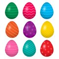 Colorful collection of Easter eggs. Vector illustration
