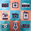 Colorful collection of retro camera set. Stock Photo
