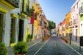 Colorful Colonial Street in Downtown Puebla Royalty Free Stock Photo