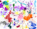 Colorful color splash on white paper Royalty Free Stock Photo