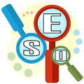 Colorful concept of search optimization group magnifiers with letters as seo Royalty Free Stock Images
