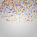 Colorful confetti on checkered background. Vector template Royalty Free Stock Photo