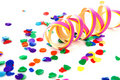 Colorful confetti and party streamer Stock Images