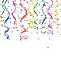 Colorful confetti and twirled party streamers falling paper on a white background with copyspace in a greeting card Stock Images