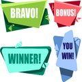 Colorful congratulatory labels isolated on white.