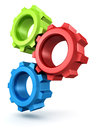 Colorful connected gears white d Stock Photography