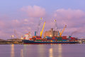 Colorful container and busy task on twilight cargo shipping Stock Image