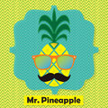 Colorful cool Mr. Pineapple fruit emblem icon on chevron pattern