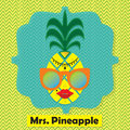 Colorful cool Mrs. Pineapple fruit emblem icon on chevron pattern