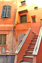 Colorful corner old town camogli small fisher village ligurian coast sunny day Royalty Free Stock Photos