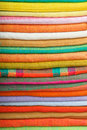 Colorful cotton fabrics stack of Stock Photos