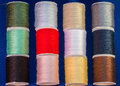 Colorful Cotton Reel Spools of Sewing Thread Royalty Free Stock Photo