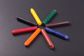 Colorful crayons close up image of on a blackboard Royalty Free Stock Image