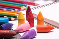 Colorful crayons and pencils many scattered on a white paper sheets Stock Photography