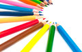 Colorful crayons on a white background Royalty Free Stock Photography