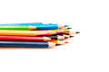 Colorful crayons on a white background Royalty Free Stock Images