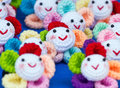 Colorful of crochet doll lot handmade color smiley Royalty Free Stock Photography